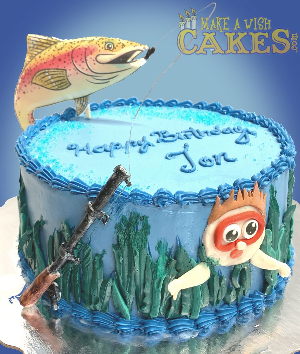 🎣 OMGosh how fun is this! I love the fish on this one! #fishing #swimming #themecakes #makeawishcakes