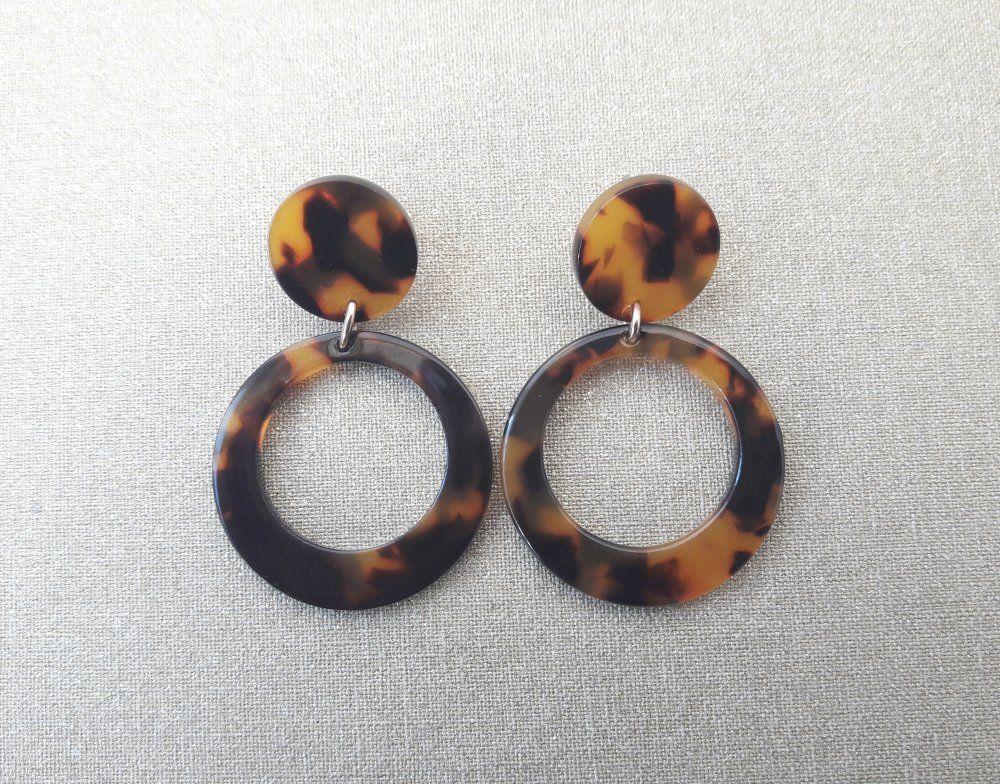 Perle Acrylique écaille de tortue boucles d/'oreille Rond Cercle Résine Goutte//Dangle Earrings