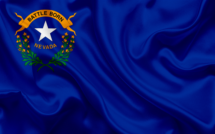 Download Wallpapers Flag Of Nevada Blue Silk Flag Coat Of Arms