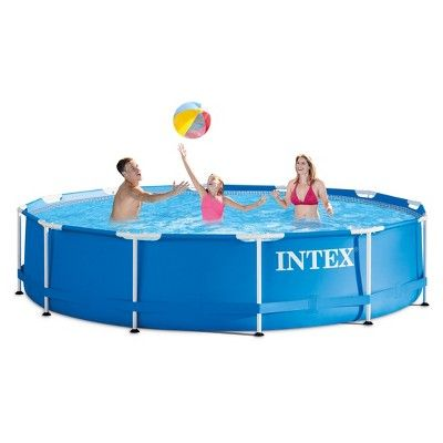 Intex 12 X 30 Metal Frame Above Ground Pool With Filter Pump Above Ground Swimming Pools In Ground Pools Backyard Pool Parties
