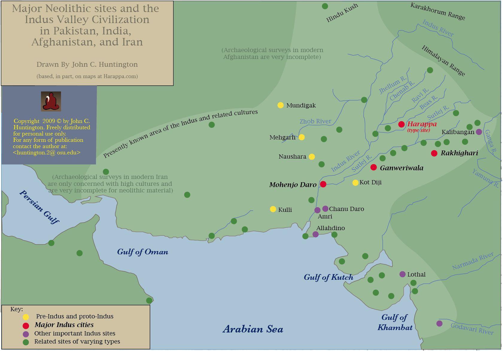 Indus Valley Sites Map