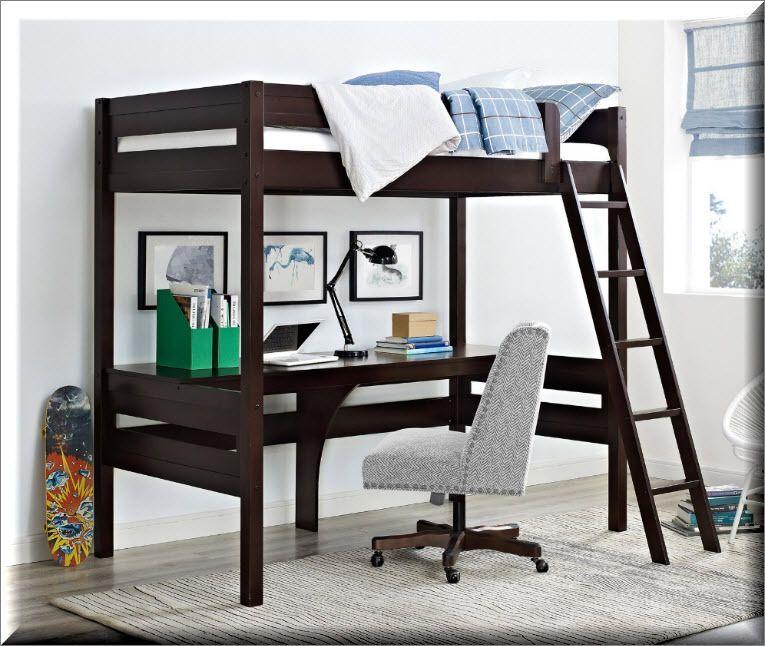 Loft Bed With Desk Rich Espresso Wood Ladder Modern Kids Bedroom Furniture Ebay Dorel Living Loft Bed Bunk Bed With Desk