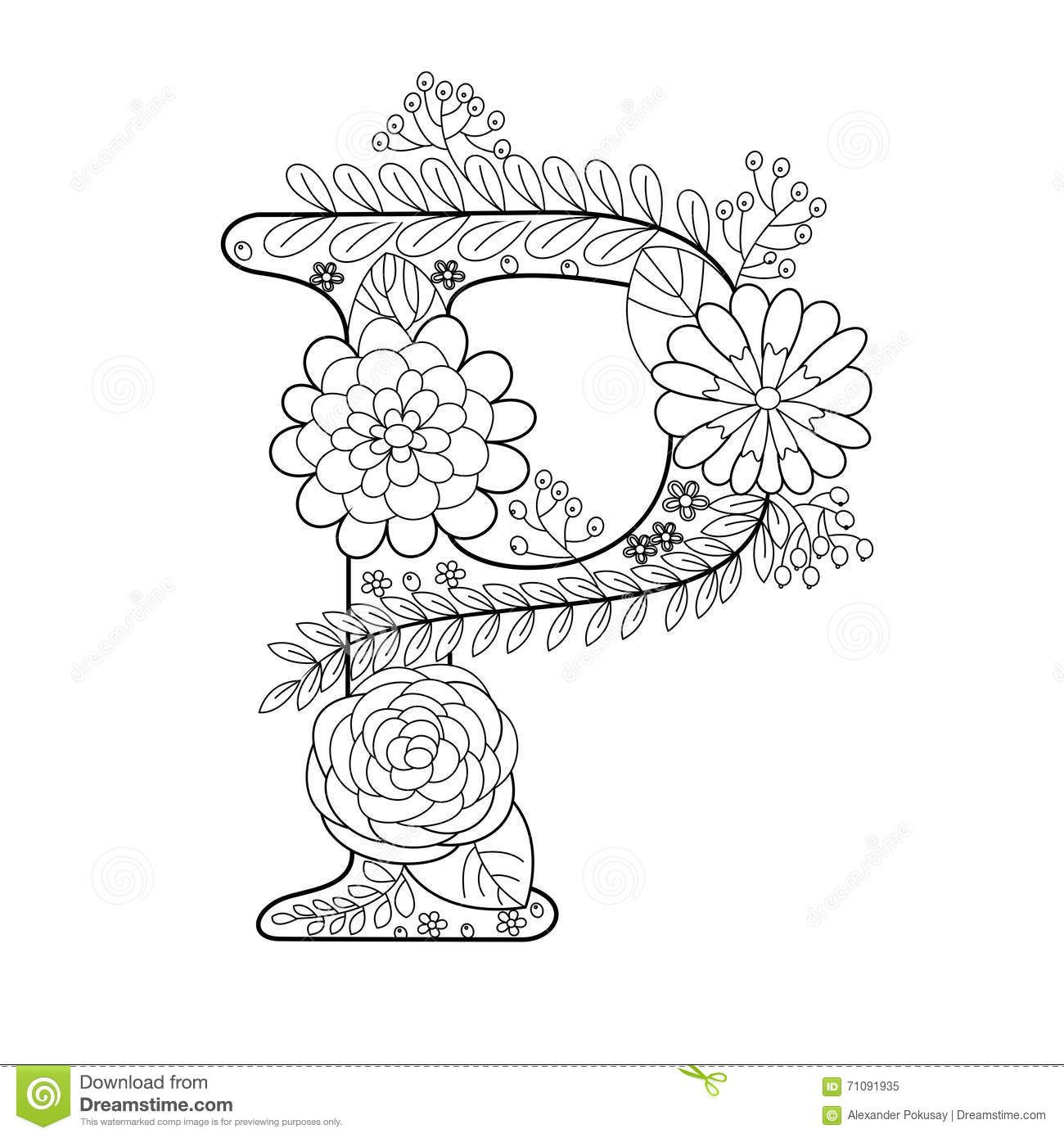 Letter P Coloring Book For Adults Vector Stock Vector Image 71091935 Coloring Books Coloring Letters Coloring Pages