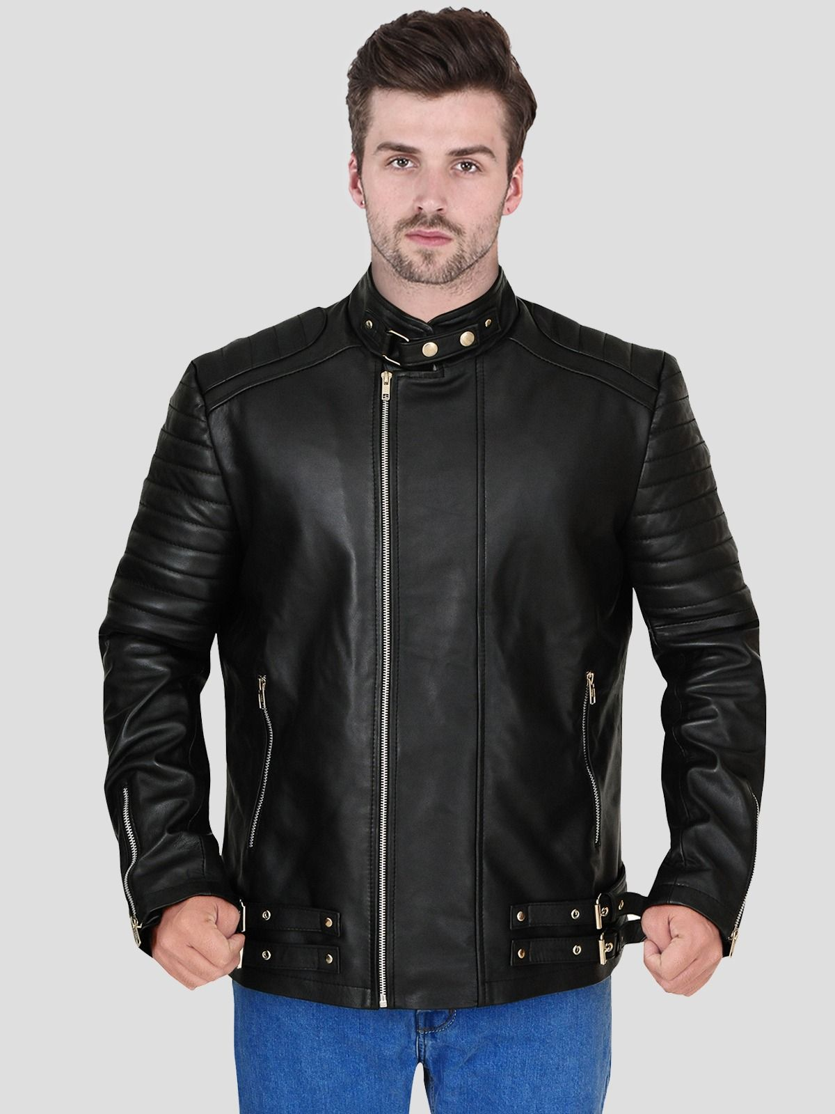 Black Faux Leather Winter Jacket For Men Leather Jacket Style Stylish Leather Jacket Stylish Jackets [ 1600 x 1200 Pixel ]