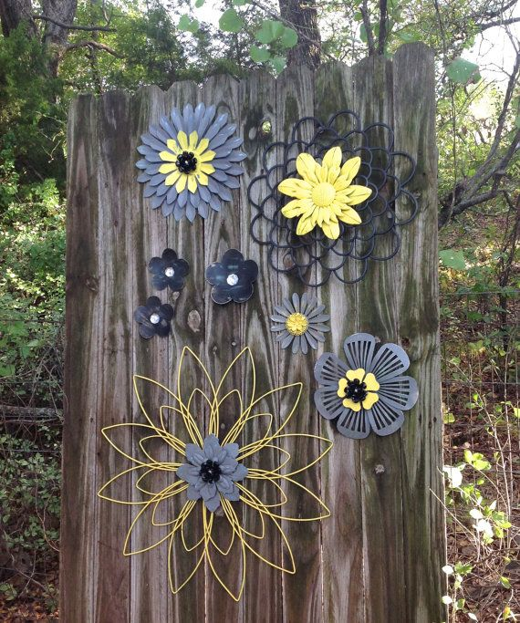 Yellow gray black 3d metal flowers outdoor fence wall for Outdoor wall flowers