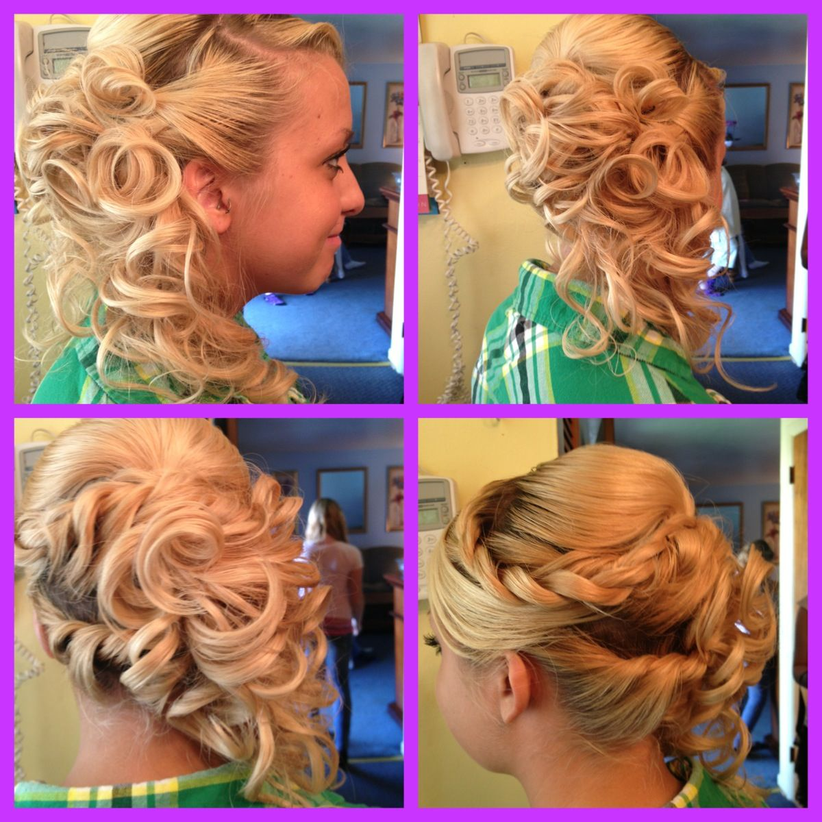 Homecoming prom updo hairstyle longhair blond curls braids