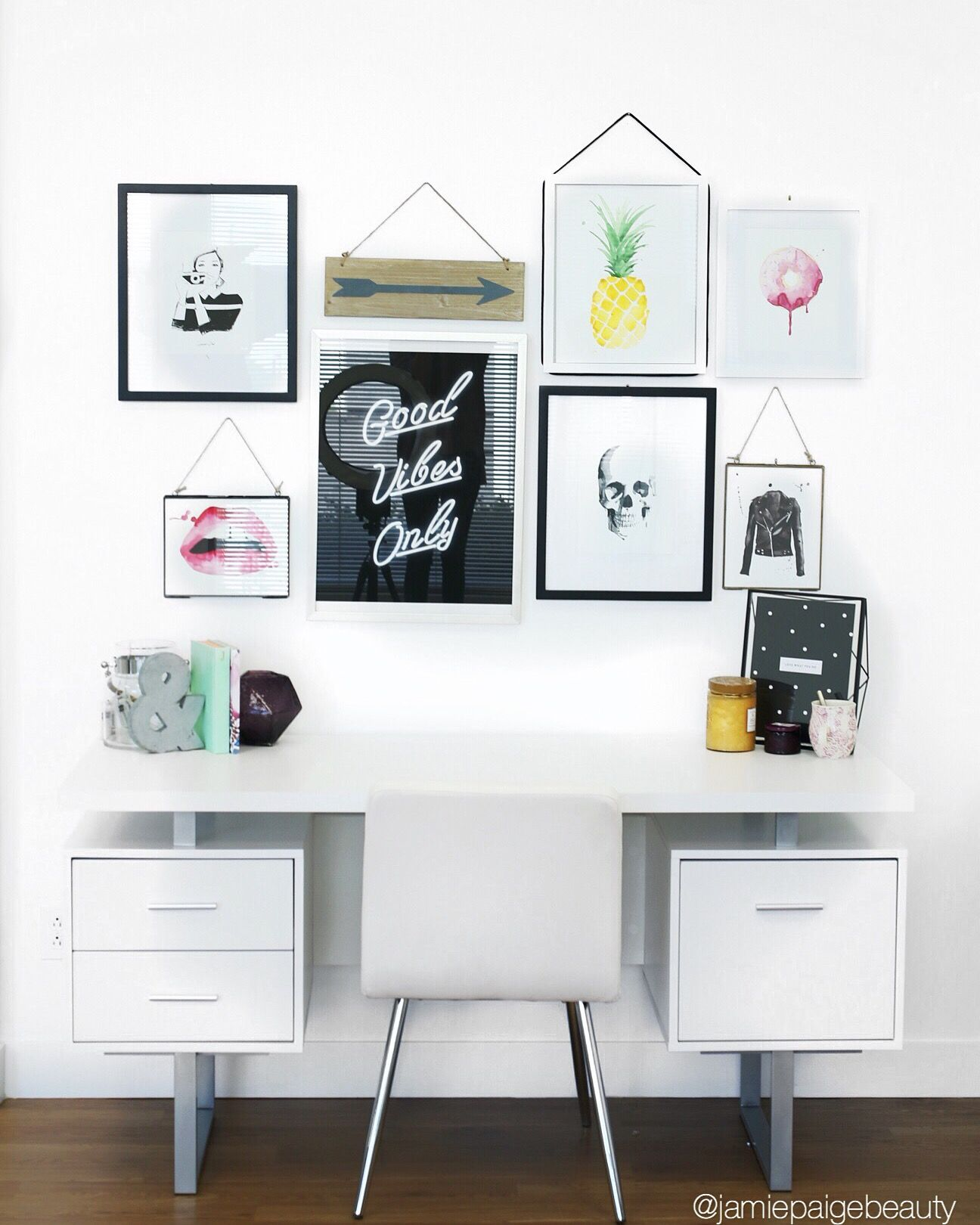 Deskworkspace Inspiration Sophistated And Fun Workspace Gallery Wall With Beautiful