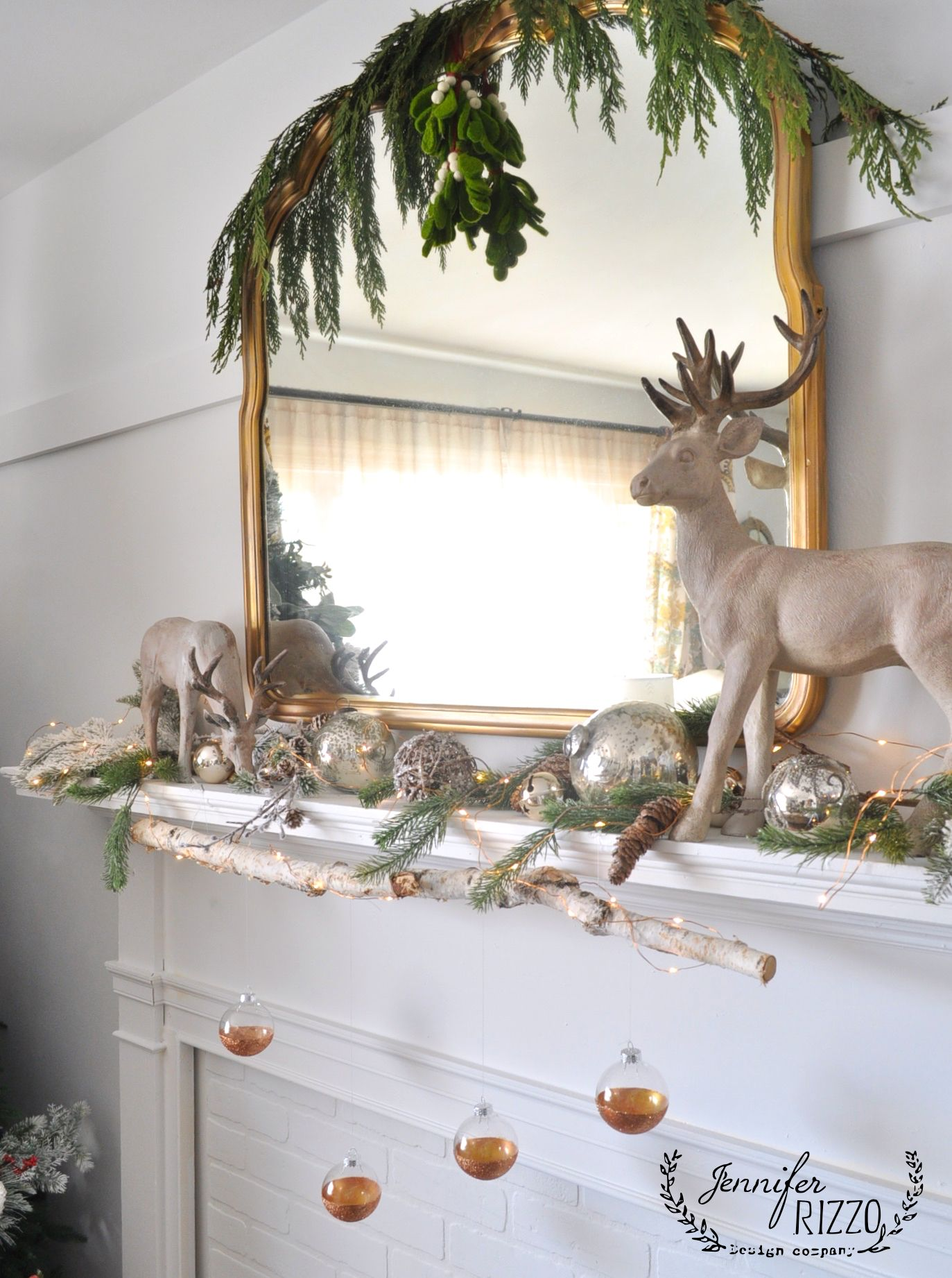Modern rustic mantel with easy DIY glitter ornaments (With