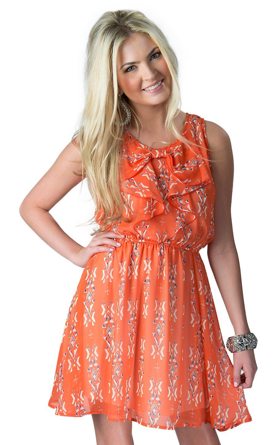 B Sharp Women S Orange With White And Blue Tribal Print Bow Front Sleeveless Dress Cowgirl Dresses Country Western Dresses Western Dresses For Women [ 1440 x 900 Pixel ]