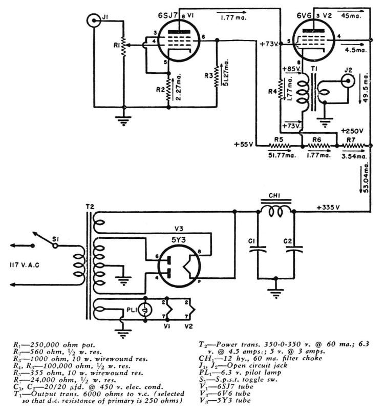 Direct-Coupled 6V6 Cathode Follower Tube Amp Schematic in