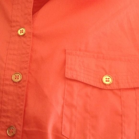 ORANGE CARO SHIRT VERY SLIMMING SHIRT WITH GOLD HARDWARE , RUBBER IN THE WAIST, ALSO HAS A VERY SMALL RIP AT COLLER IN THE BACK OF THE SHIRT WHICH CAN BE SEWN . THAT IS WHY I PRICED IT  VERY LOW. Cato Tops