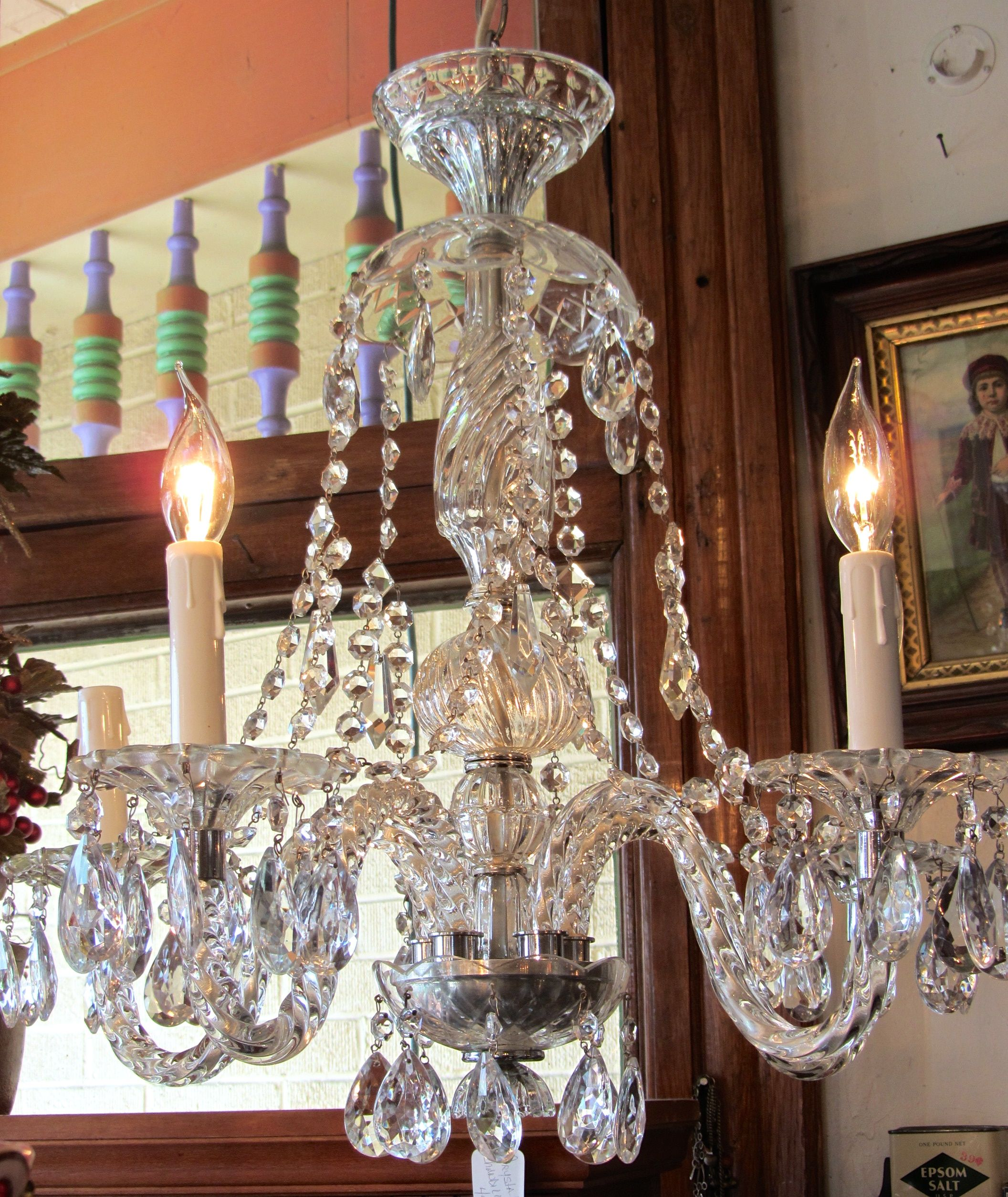 Antique crystal chandelier 5 arm with crystal swags between each antique crystal chandelier 5 arm with crystal swags between each each arm has a twisted glass pattern rewired and ready to go arubaitofo Images