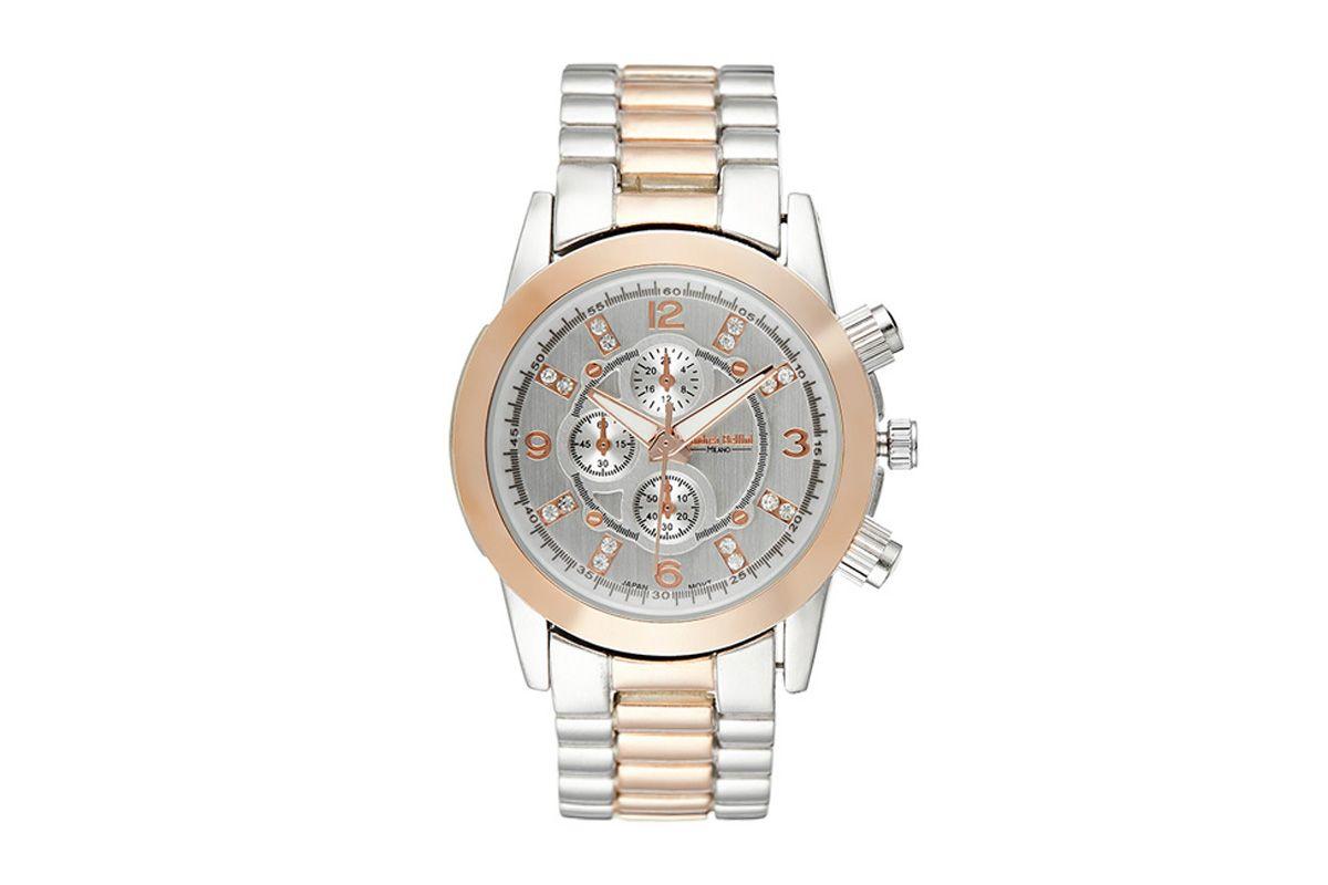 Reloj de cuarzo de metal CandyPlateado y rosa dorado
