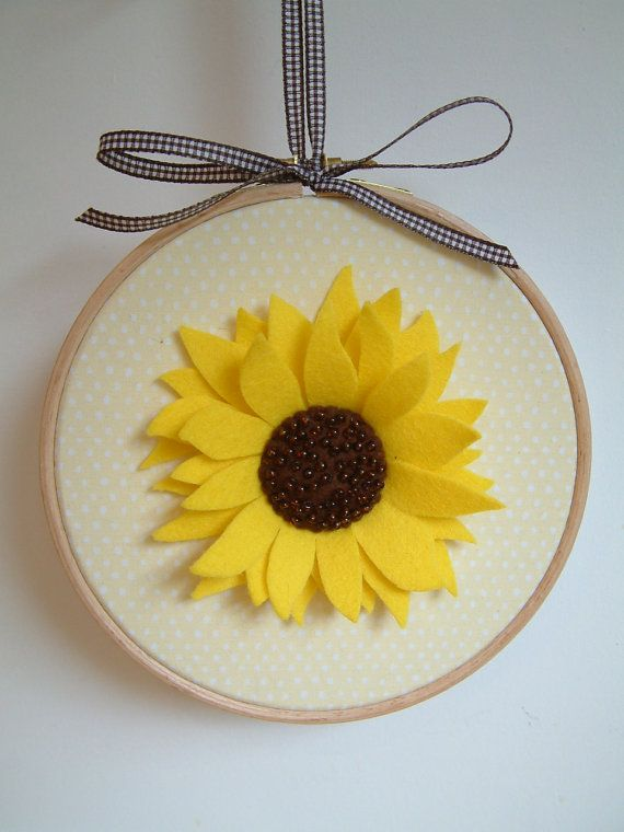 Felt Sunflower - with French knots instead of beads. I like the ...