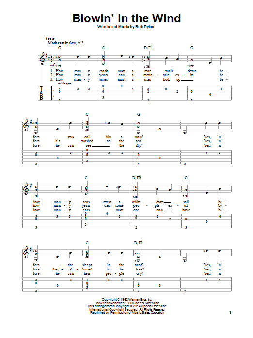 Bob Dylan: Blowin\' In The Wind - Partition Tablature guitare facile ...
