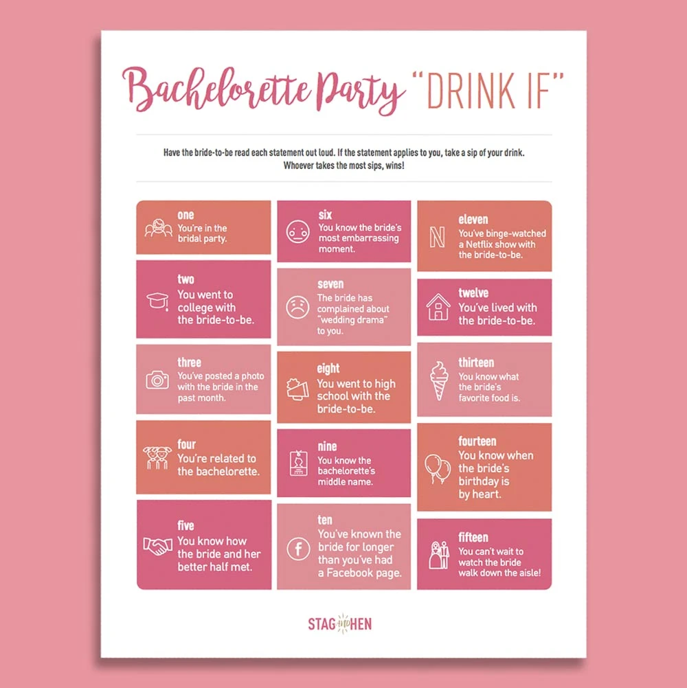 "Bachelorette Party ""Drink If"" Game Free Digital Download"