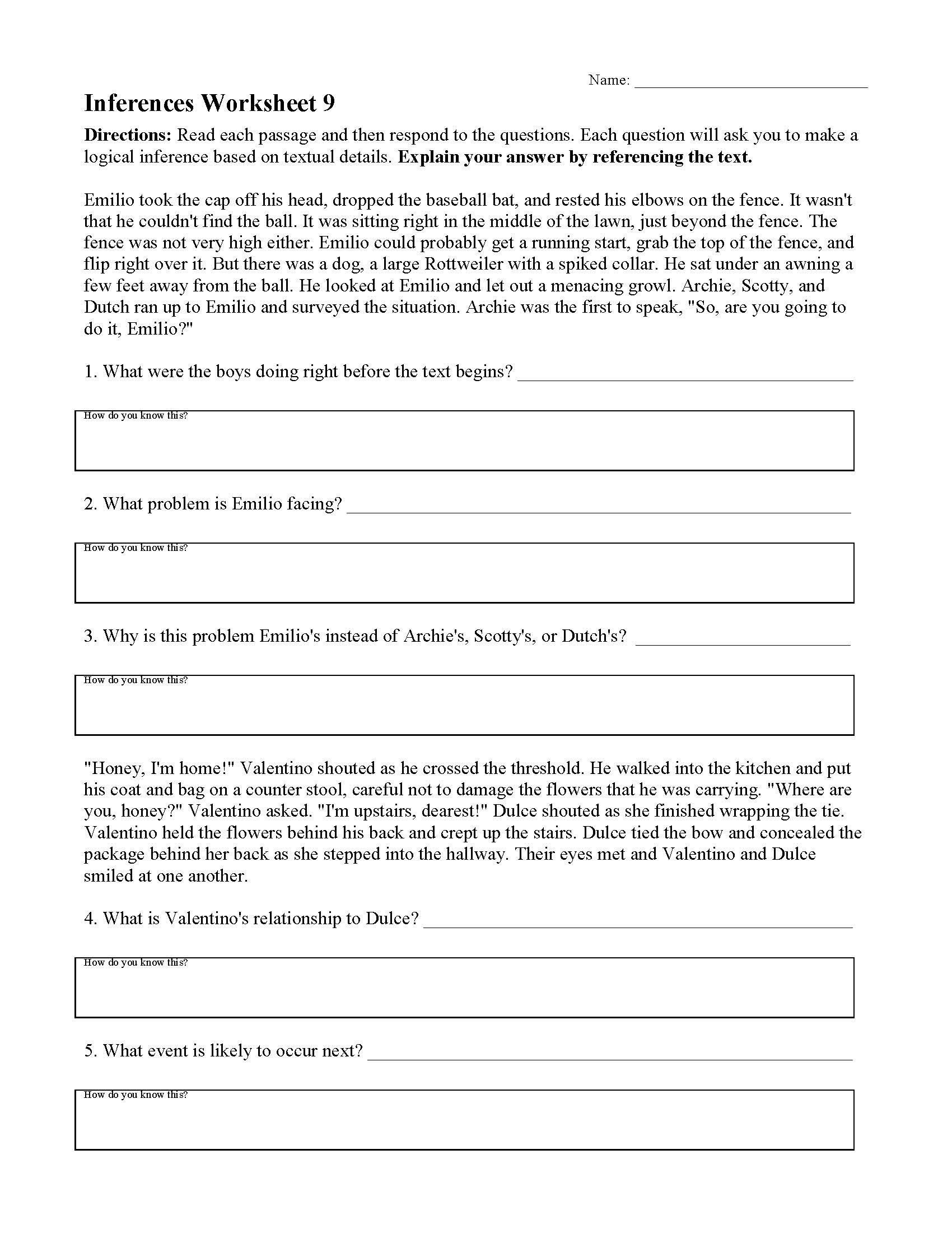 Making Inferences Worksheets 4th Grade Inferences
