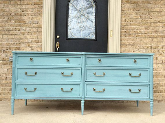cette belle elegante long 72 commode vintage a ete peinte et une belle aqua tiffany bleu