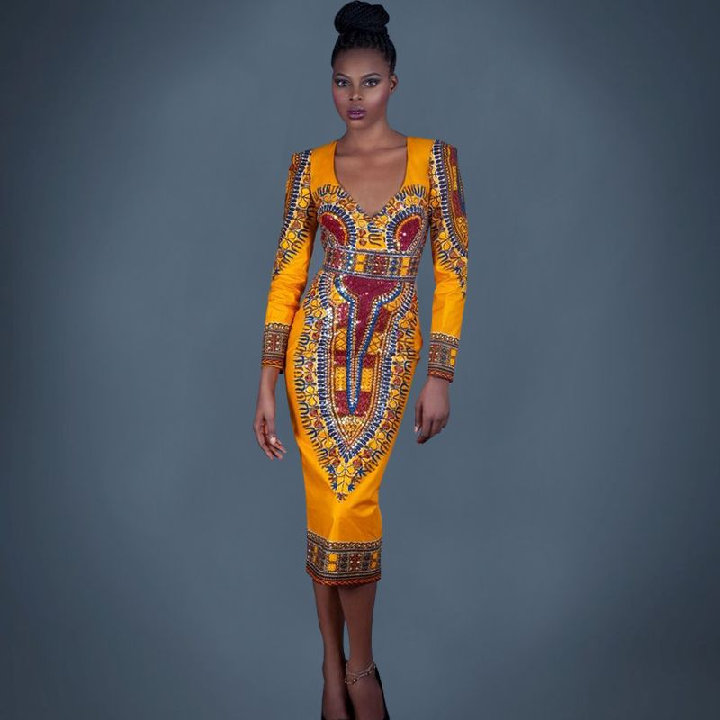 2016-new-spring-style-African-batik-fabric-dress-yellow-printing-full-sleeve-backless-lady-female-Bodycon.jpg (800×800)