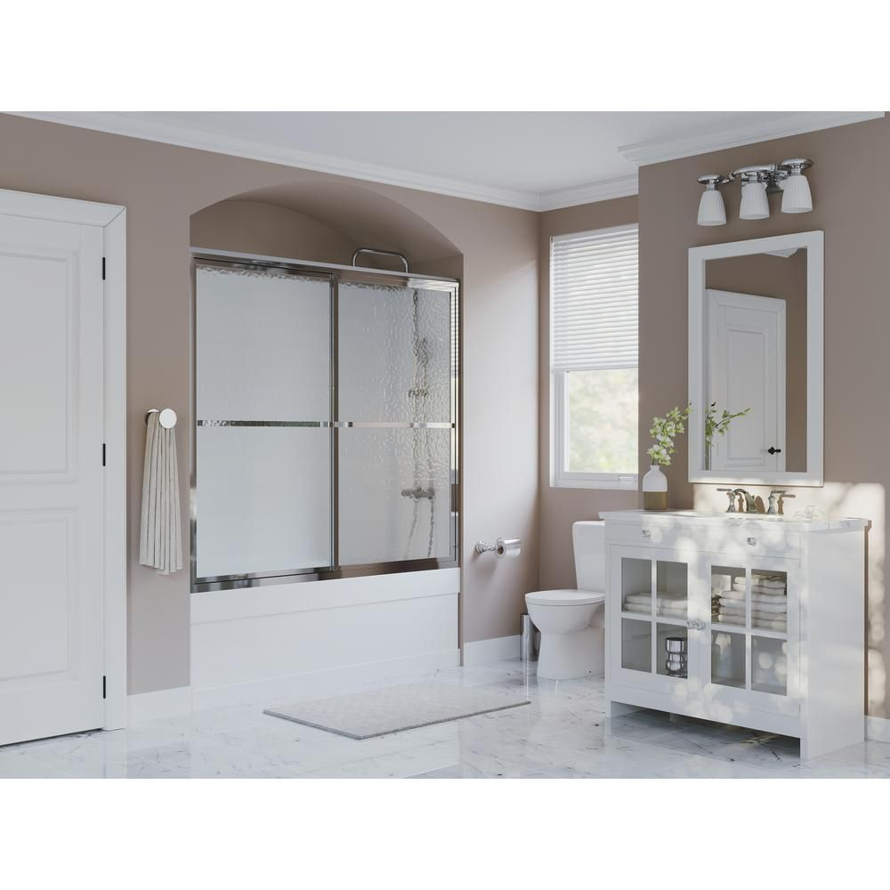 Coastal Shower Doors Paragon 54 In To 55 5 In X 55 In Framed Sliding Tub Door With Towel Bar In Chrome And Obscure Glass 1754 55b A Shower Doors Coastal Shower Doors Sliding Shower Door