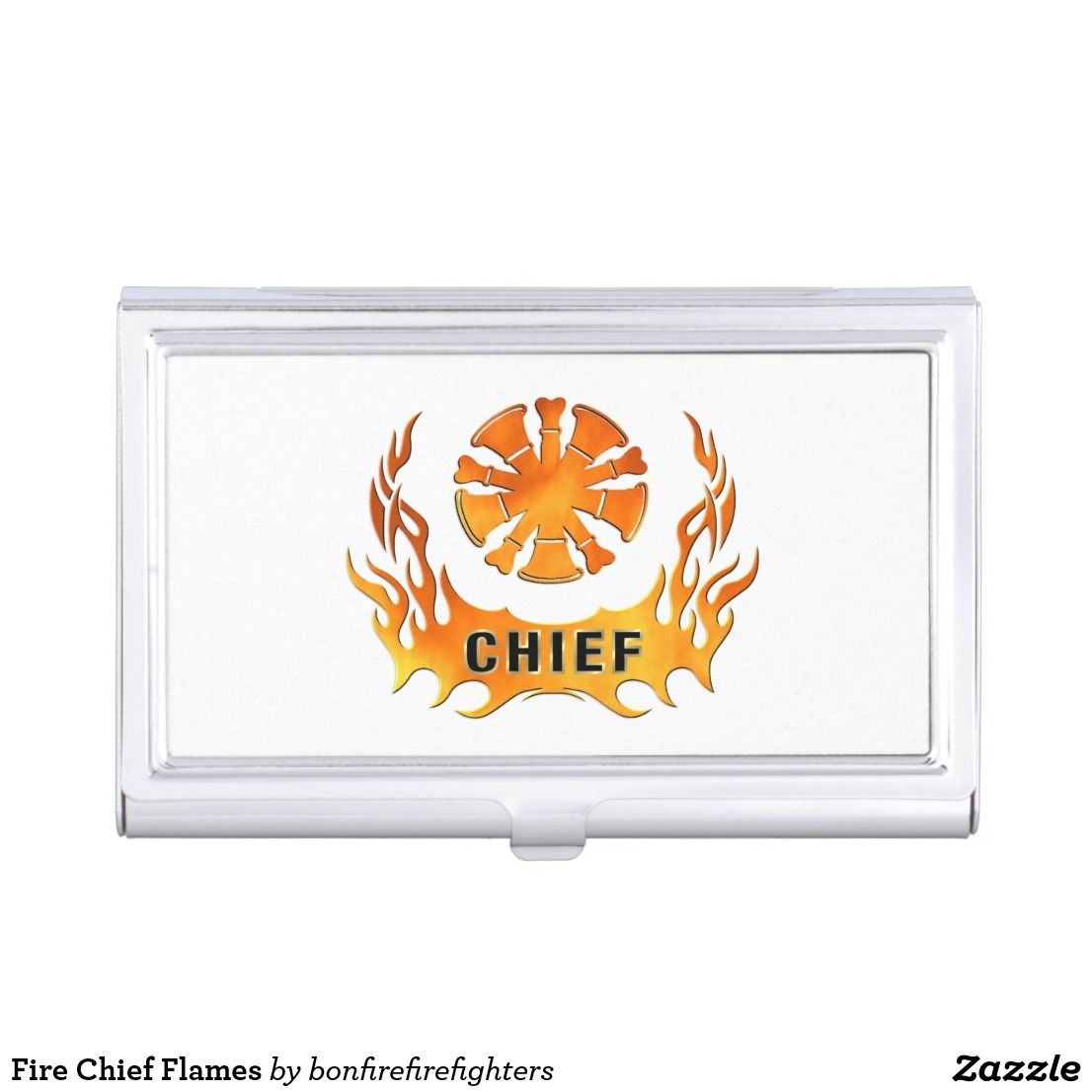 Fire Chief Flames Case For Business Cards | Firefighter