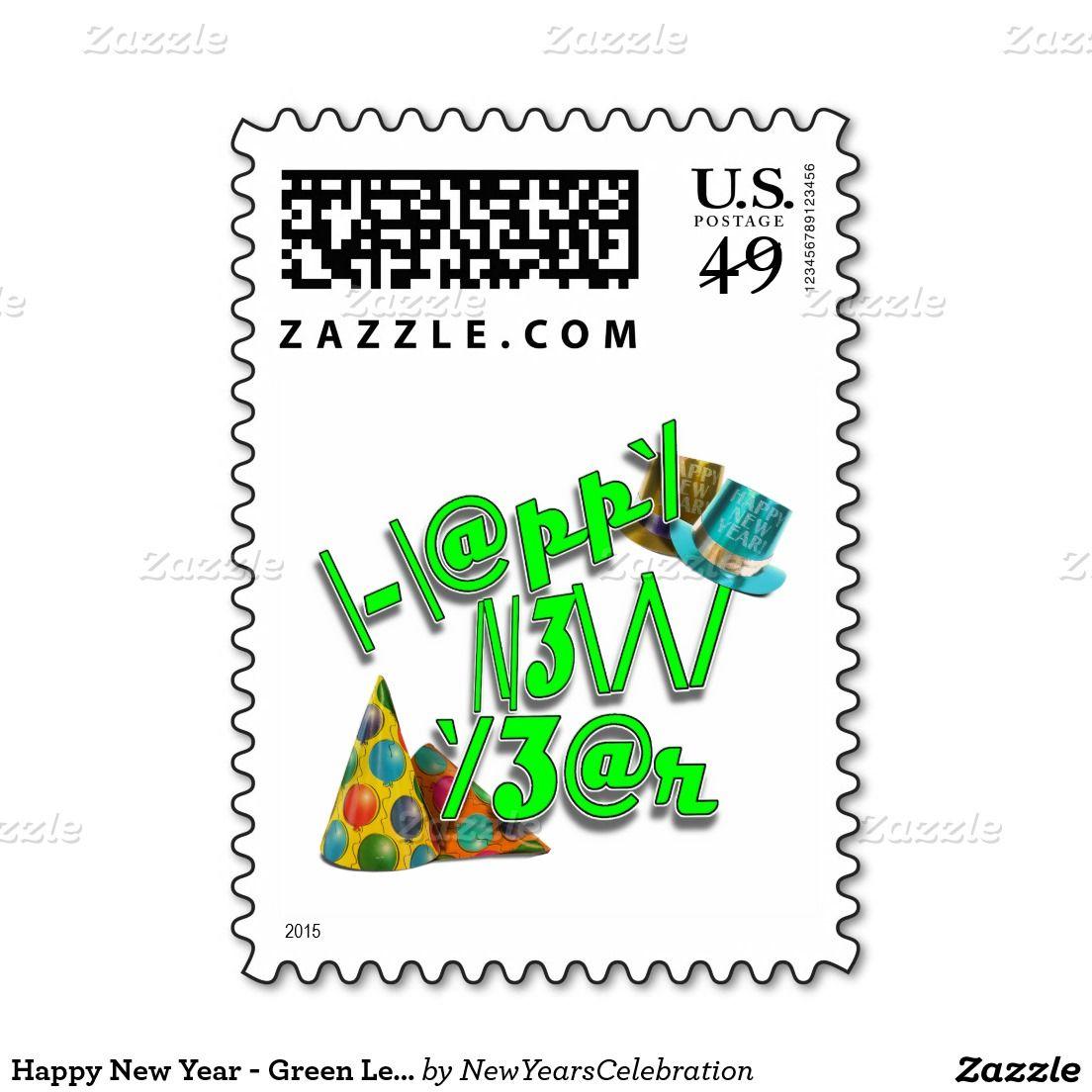 Green #Leet Style Custom Postage! #NewYearsPostage Stamps - #NewYearsCelebration #gravityx9 #Zazzle