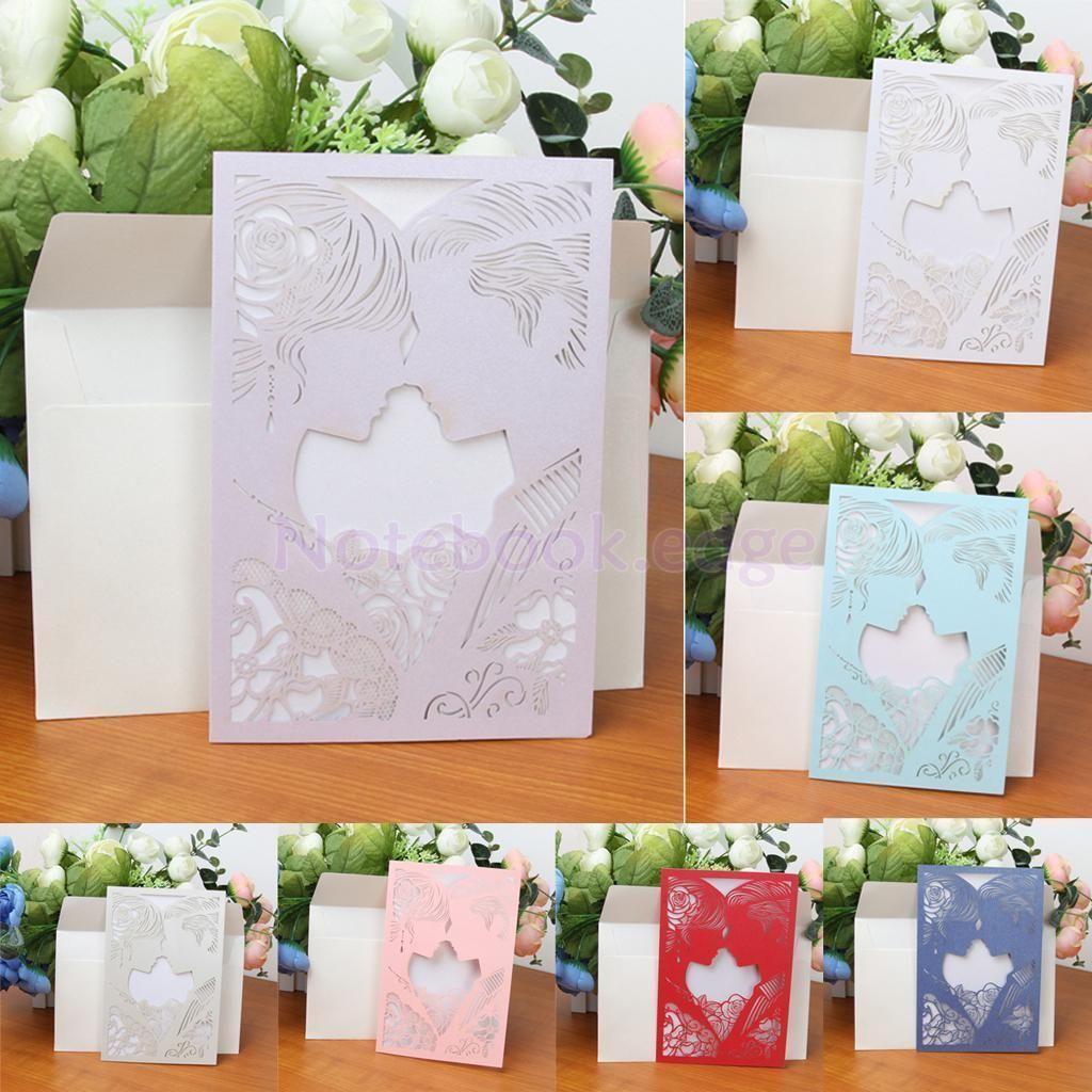 Pcs wedding invitation cards with envelopes seals custom