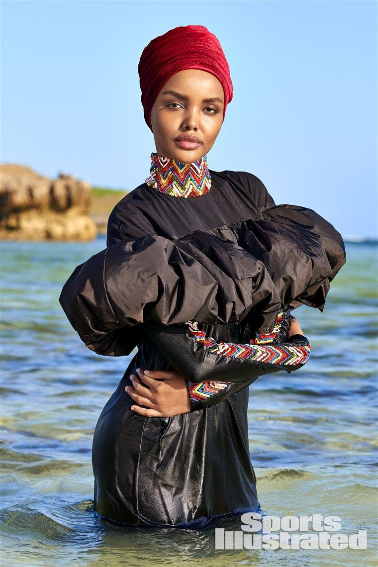 708ee719 Halima Aden is first Sports Illustrated Swimsuit model to wear hijab,  burkini