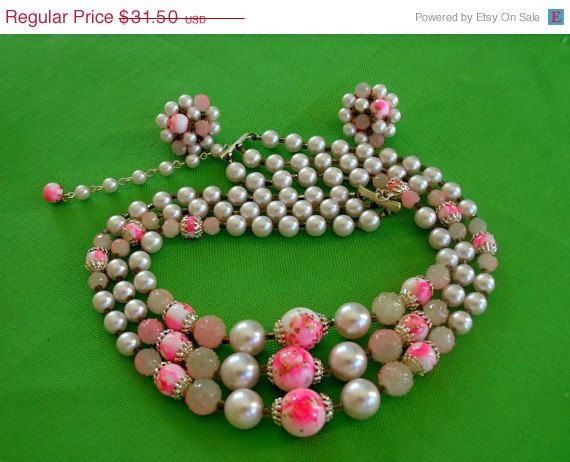 MOM DAY SALE Vintage Pink Beaded Necklace and by LaylaBaylaJewelry