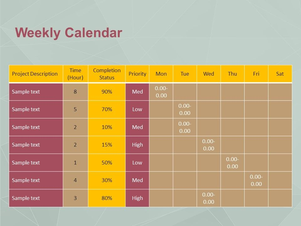 Use Weekly Calendar PowerPoint Template to display your