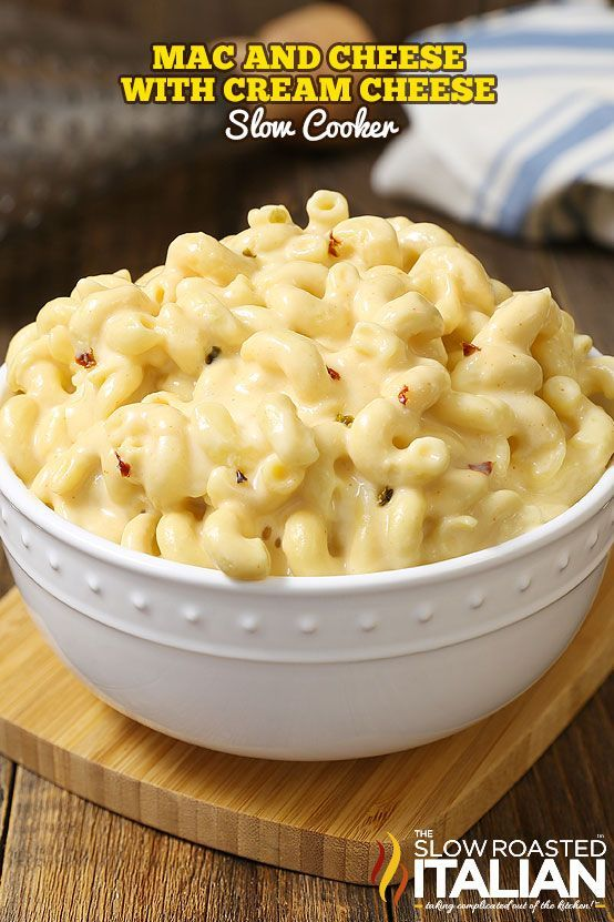 Mac and cheese with cream cheese is made in a slow
