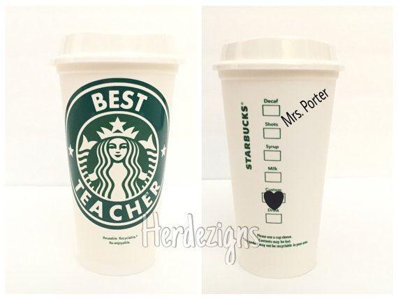 Personalized Starbucks Cup Teacher tumbler mug by
