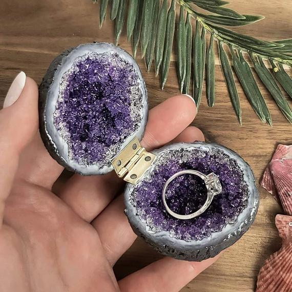 Purple Glass Crystal Engagement Ring Box