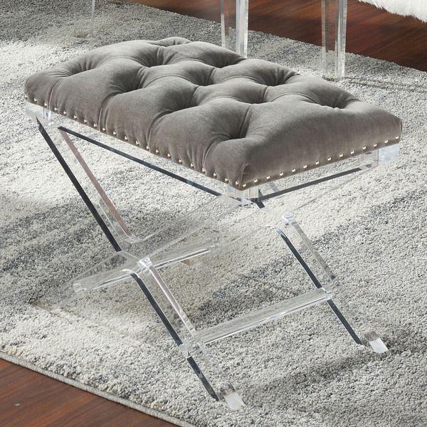 Evoque Velvet Bench With Acrylic Legs 24 Inches Long X 16