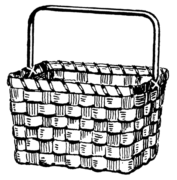 Gallery For Picnic Basket Coloring Page Clip Art Basket Clipart Black And White