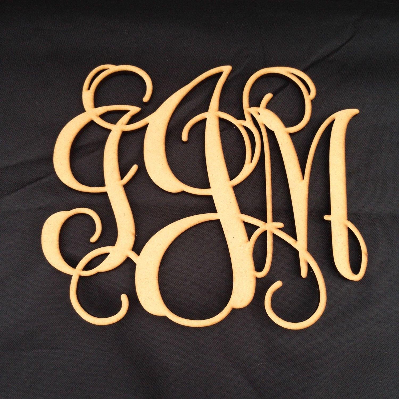 Vine Monogram Door Hanger - Three Letter Monogram, DIY, Blank Wood ...