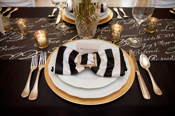 Black and gold table setting 5 & This is the satin black and white striped napkin that will be on all ...