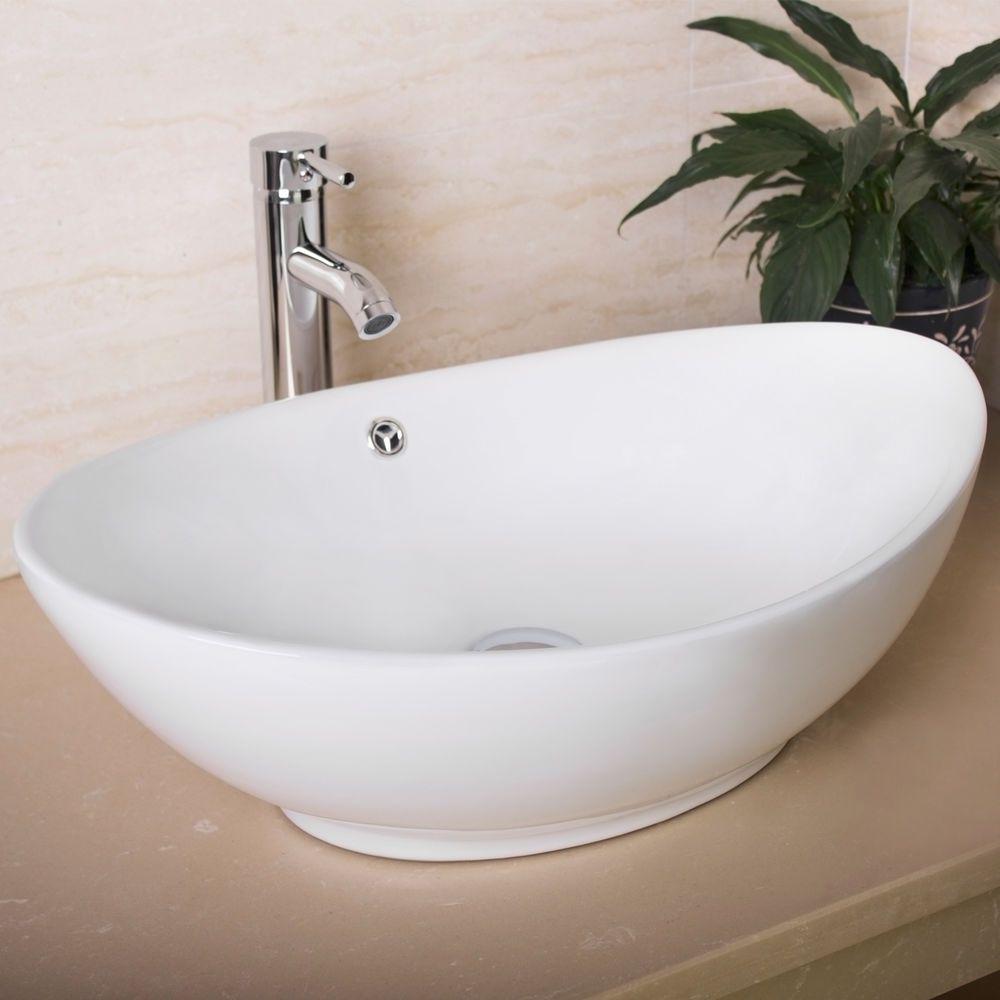 Oval White Bathroom Porcelain Ceramic Vessel Sink Bowl Chrome Faucet Basin Combo 814644020771 Ebay Vessel Sink