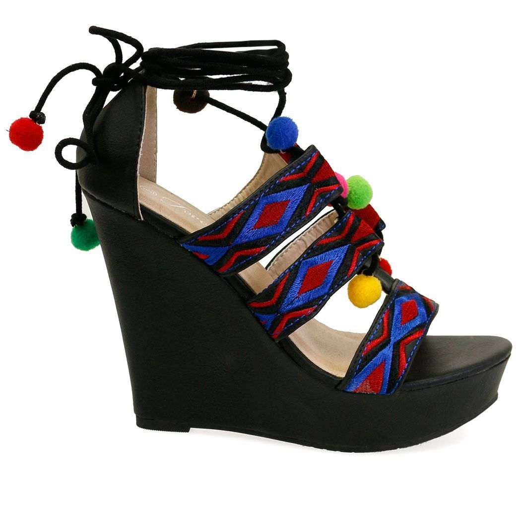 4ec1357787d Succeed-21 Black Tribal Print Multi Pom Poms Lace Up High Wedge ...
