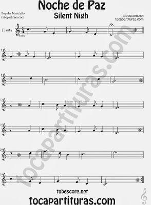 Partitura De Noche De Paz Para Flauta Travesera Flauta Dulce Y Flauta De Pico Villancico Christmas Song Silent Nigh Partituras Flauta Travesera Noche De Paz