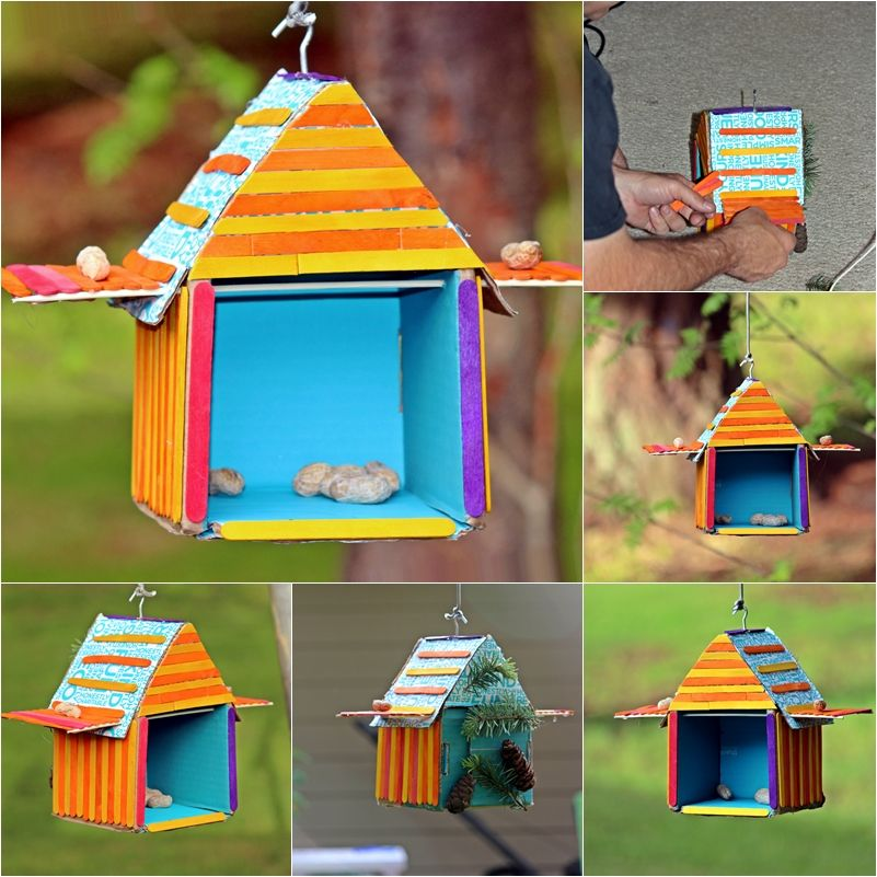 Diy recycled bird house beary crafty pinterest diy for House made by waste material