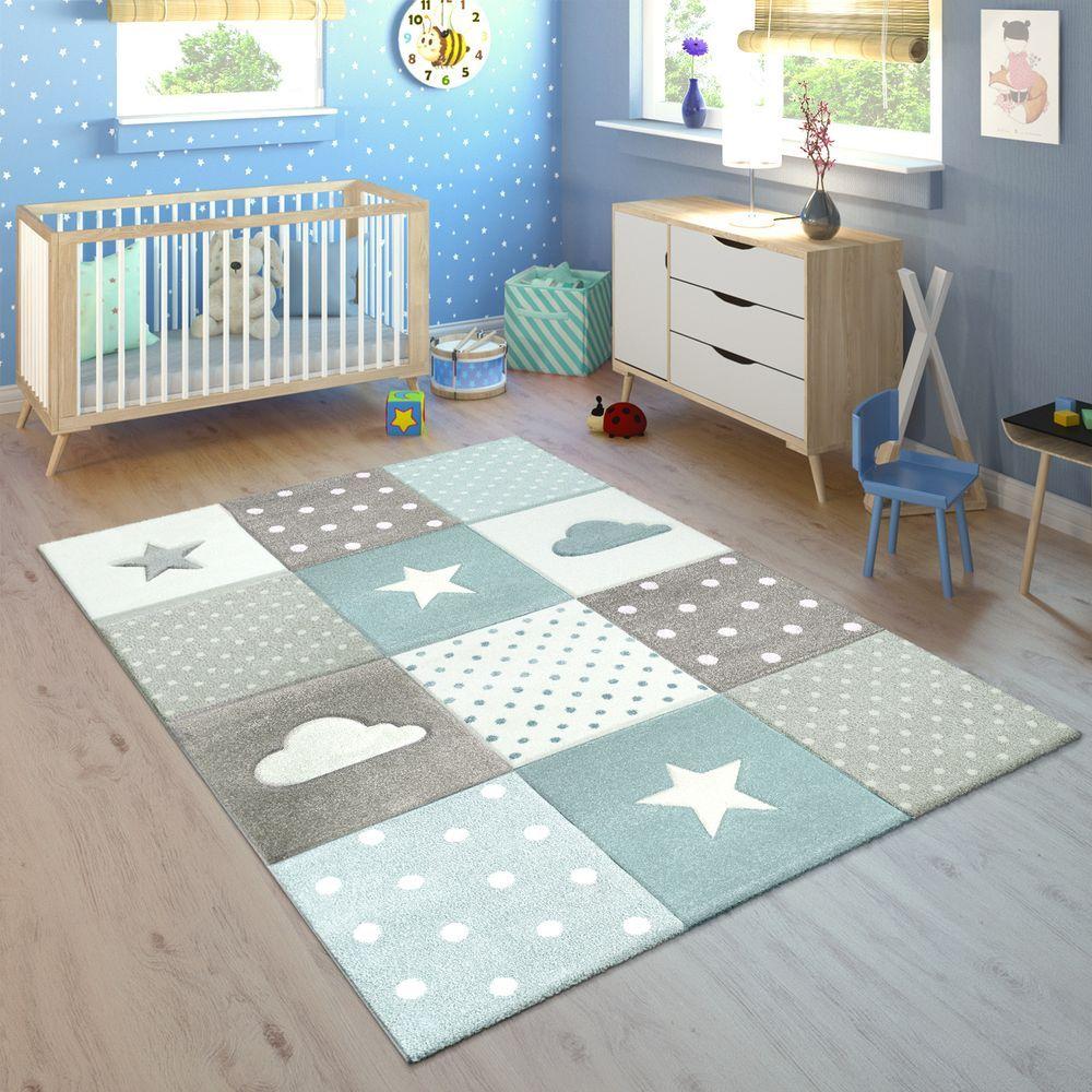 Zimmer Grau Blau: Kinderteppich Kariert Wolken Sterne Blau Grau