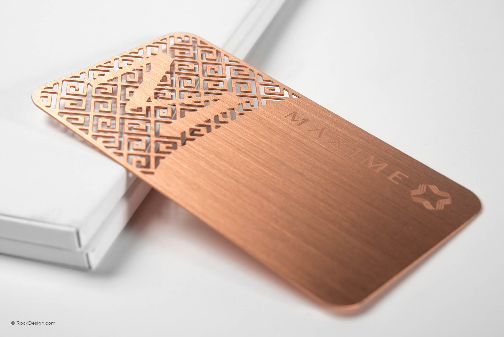 luxury rose gold metal business card with brushed finishing