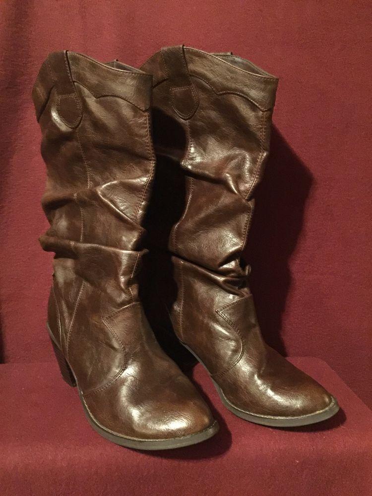 a67c2001b43 Women's SODA CARMEN Brown Heel Pull-on Cowboy Boots Shoes Size 8 ...