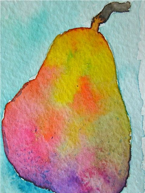 Original Watercolor Painting Pear ACEO Fine Art. via Etsy. Could do with markers and rubbing alcohol???