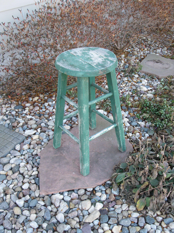 Shabby Wood Stool- GREEN -vintage wood bar stool- distressed ...