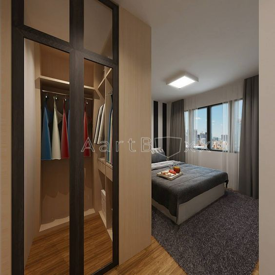 Hdb Bto 4 Room Anchorvale Cres Blk 334b Interior Design Singapore Walk In Wardrobe For