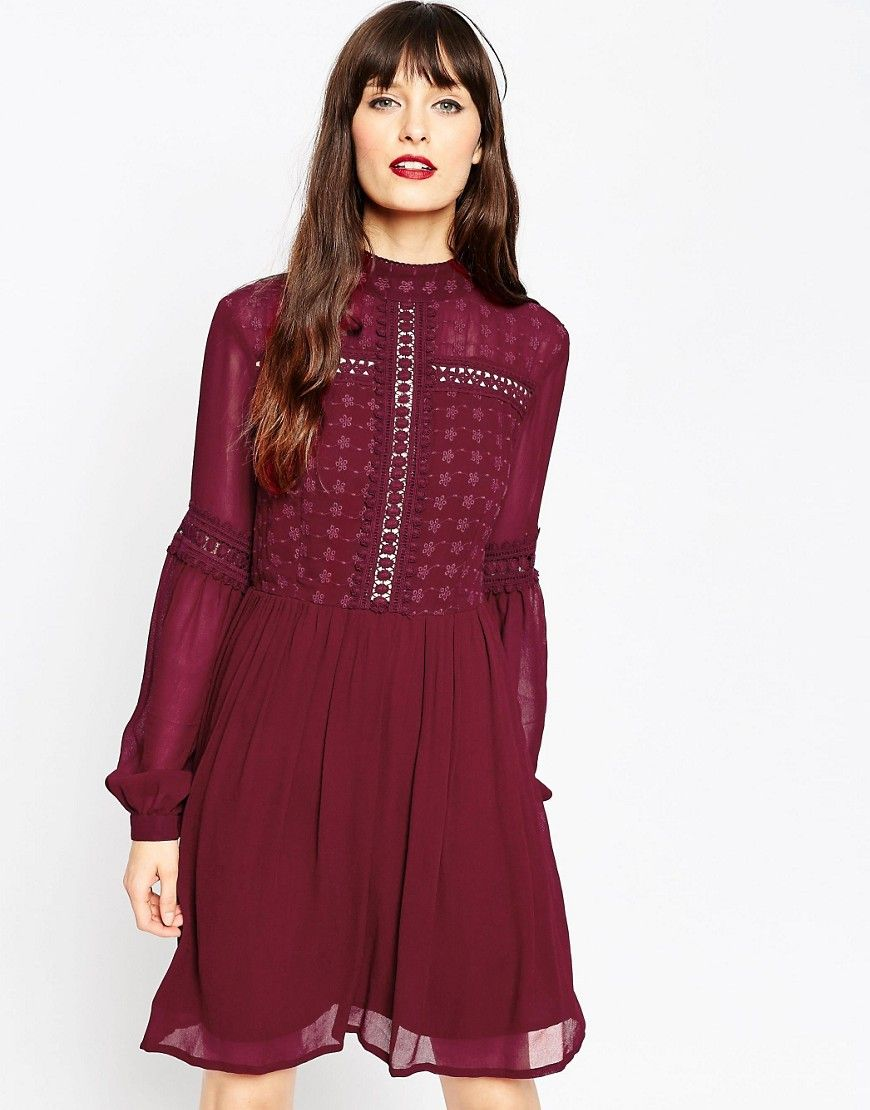 Asos Womens Victoriana Skater Dress Dark Red - Dresses