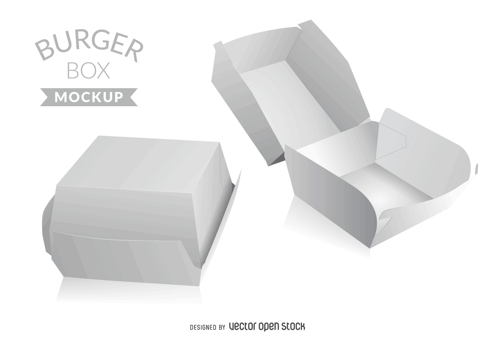Fast food box mockup in white. Simple burger box. Use the template ...