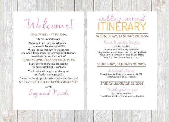 Welcome Letter Wedding Itinerary Hotel Bag Destination Diy Printable